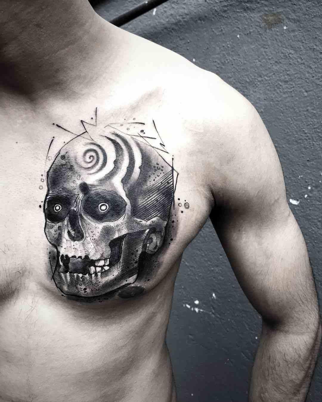 sculp-tattoos-banglore-chest-skull