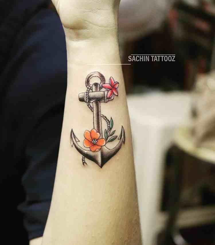 sachin-tattooz-davangere-hand-anchor-flower