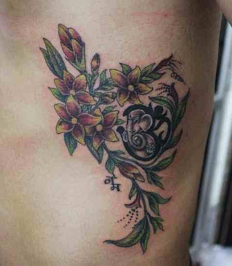 3d-tattoo-studio-delhi-flower-ganesh