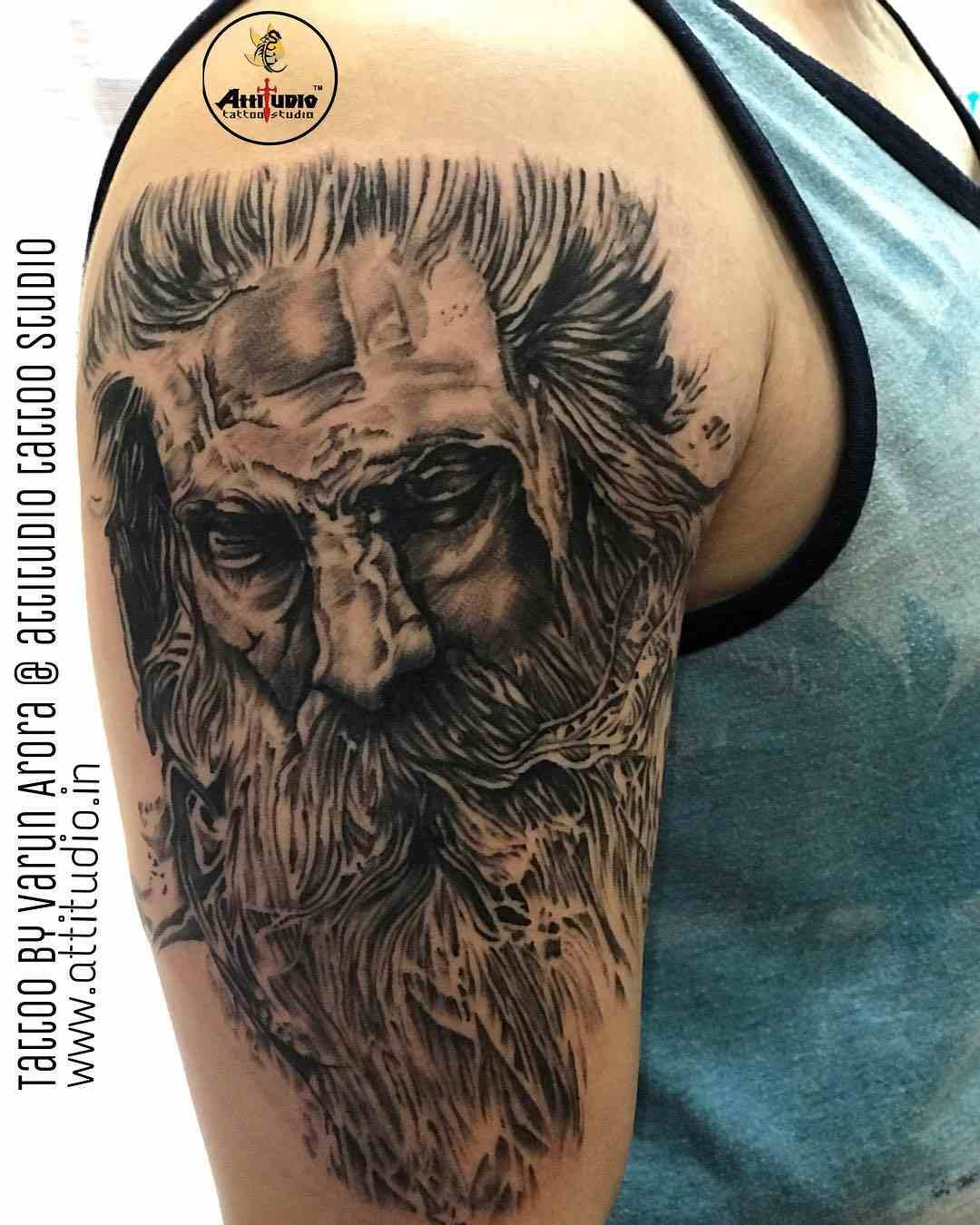 attitudio-tattoo-delhi-shoulder-aghori