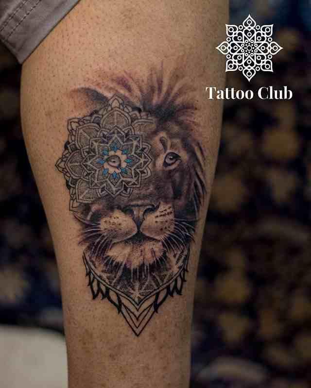 tattoo-club-tattoo-delhi-calf-lion-mandal