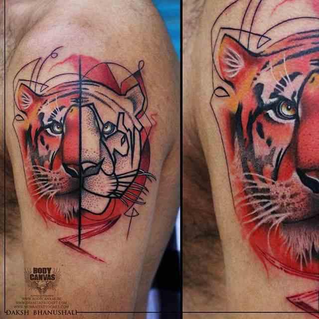 Boday-Canvas-tattoo-mumbai-color-tiger
