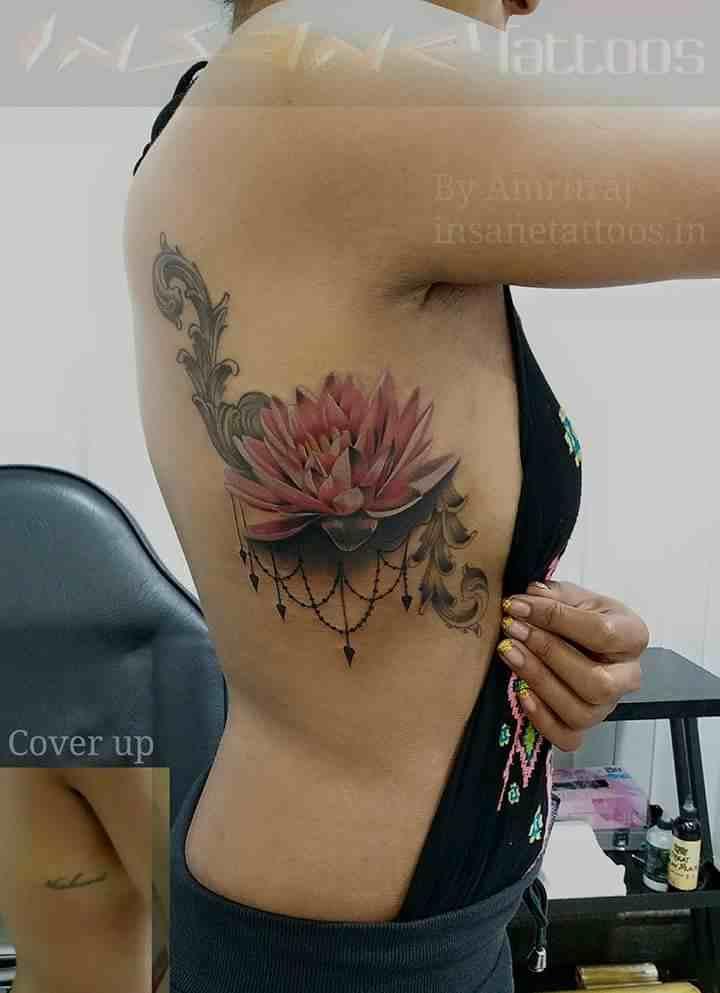 insane-tattoo-mumbai-side-color-lotus