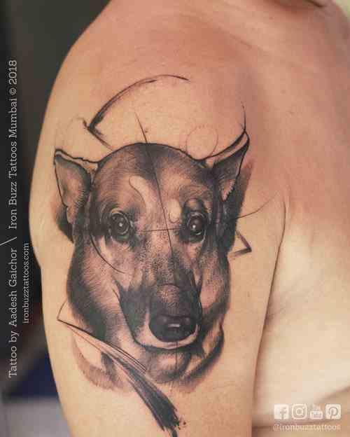 Iron-buzz-tattoo-mumbai-bandra-realism-dog-shoulder