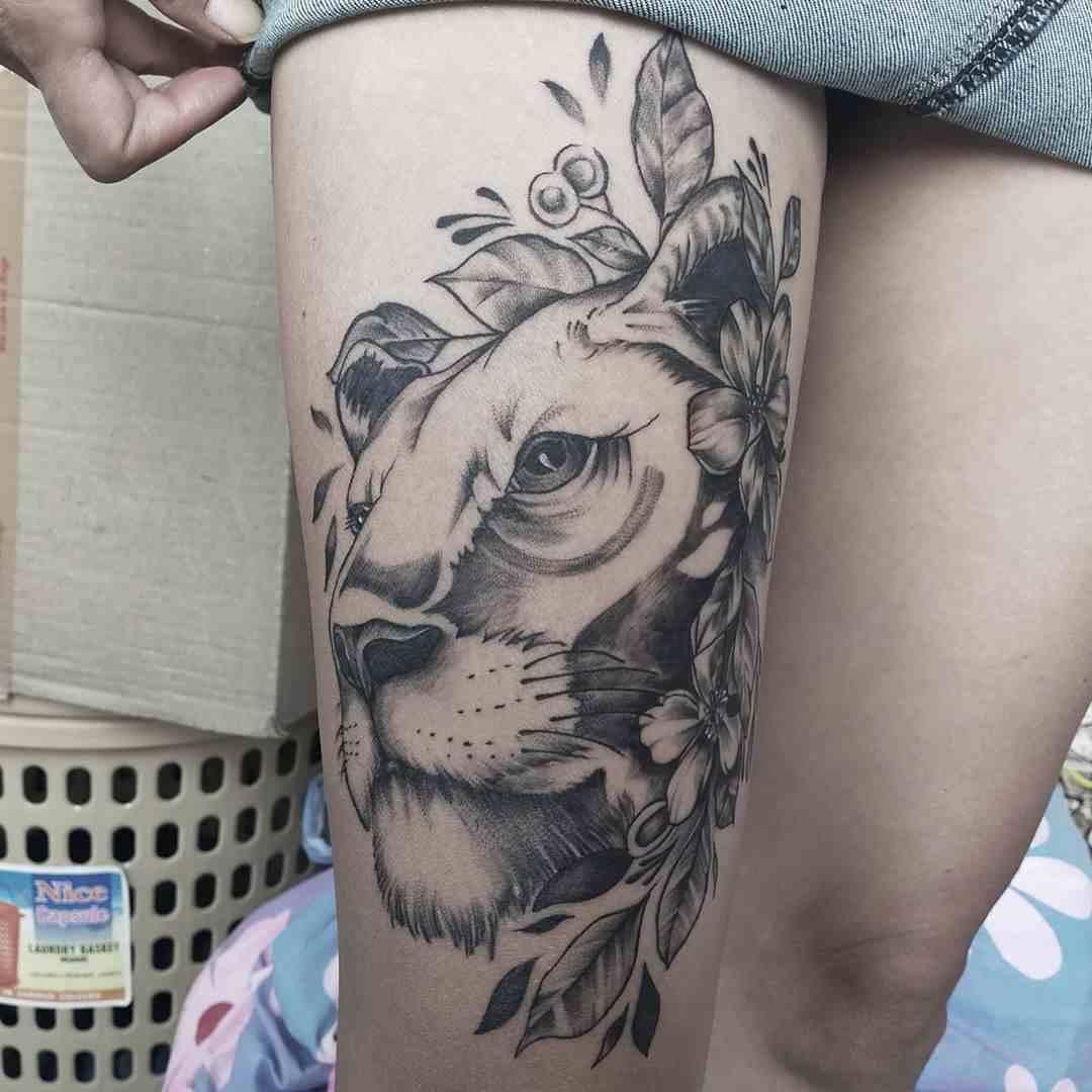 think-tattoo-nagpur-leg-lion