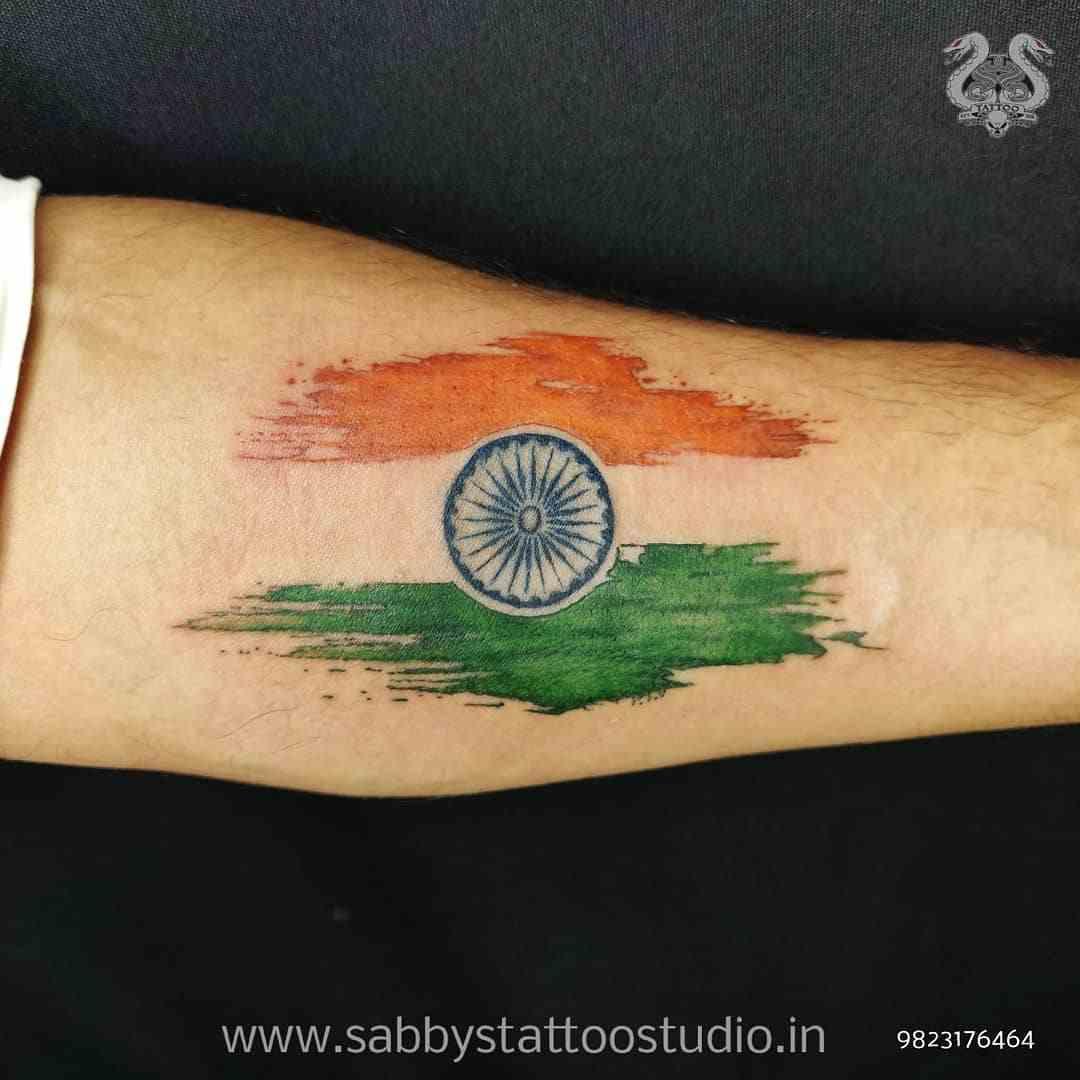 sabbys-tattoo-studio-india-flag-arm-koregaon-park