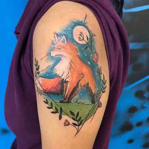 inkarnation-pune-tattoo-nature-color-fox-wolf