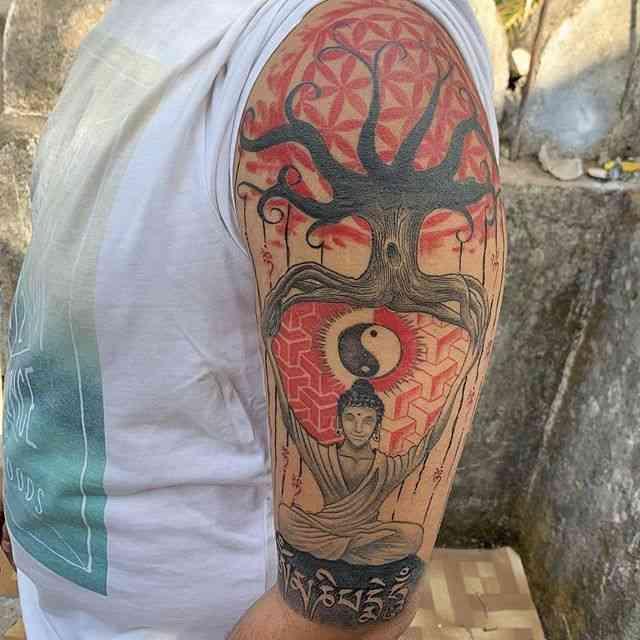 inkarnation-tattoo-pune-buddha-color-shoulder